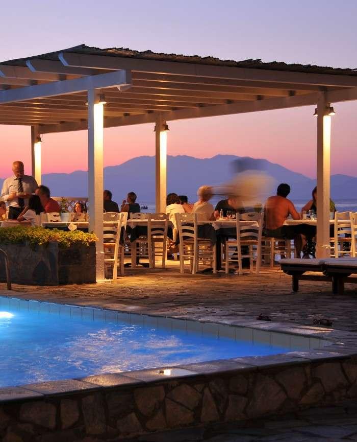 Hotel Lido Restaurant Beach Water View Evening Greece
