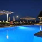Hotel Lido Restaurant Beach Water View Summer Evening Full Moon Greece