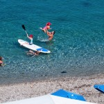 family sports at private beach in peloponnese