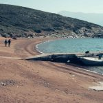 Red sand beach at the volcanic islands of Alcyonidae