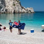 australian family vacation in peloponnesos boat trip